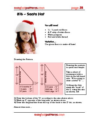 Knitting Pattern Santa Hat 1000 Free Patterns